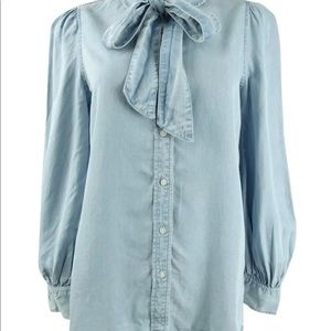 Lauren Ralph Lauren Womens Tie-Neck Chambray Shirt